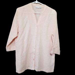 Kim Rogers button up top 3/4 length sleeves size L